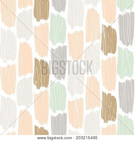 Seamless wood planks pattern. Tree bark texture vector background. Pastel colored planks parquet ornament flooring.