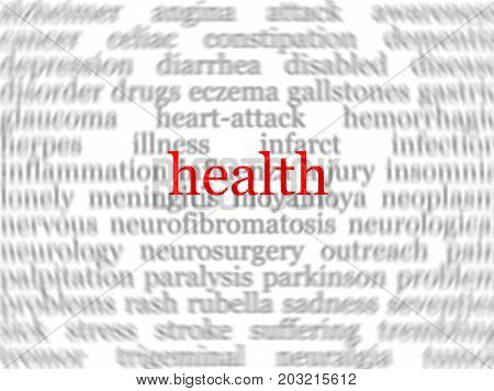 Abstract medical background with the word health in the center