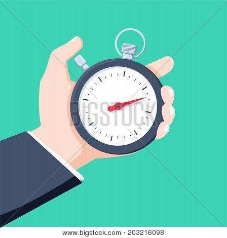 Man holds in his hand a sports stopwatch. Time management concept. Fast reaction business abstract picture. Vector illustration.