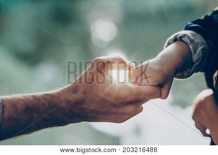 father and little son holding hands in sunlight. father's hand lead his child son in summer forest nature outdoor trust protecting care parenting family concept. road to life.