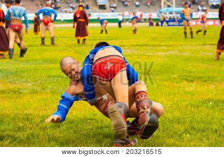 Naadam Festival Boys Wrestling Match Thrown Ground