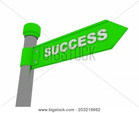 road sign with signature SUCCESS . 3d rendered illustration