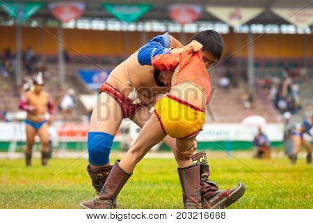 Naadam Festival Boys Wrestling Match Close Field