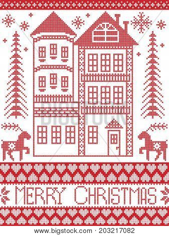Merry Christmas Winter Nordic style and inspired by Scandinavian Christmas pattern illustration in cross stitch including tall gingerbread house, reindeer, snowflake, decor seamless ornate patterns
