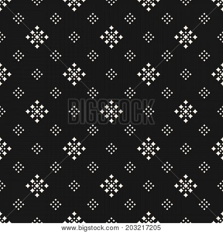 Vector geometric texture with tiny rhombuses squares. Abstract modern seamless pattern. Subtle dark monochrome background. Design for decoration, package, textile, upholstery, covers, digital, web.