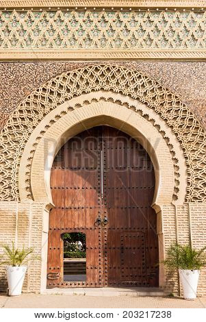 Bab Mansour Morocco's famous entrance gate to the old medina in Meknes Morocco Africa.
