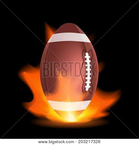 American Footbal Or Rugby Ball In A Flame.