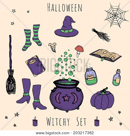 Colorful set of vector halloween elements. Includes potions vials herbs books mushrooms cauldron with bubbles pumpkin witches hat broom stockings and shoes.