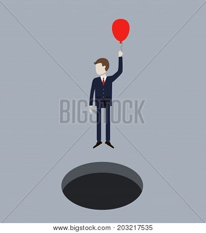 Business Man Flying On Air Balloon from Hole. Concept of business success. Vector illustration flat design
