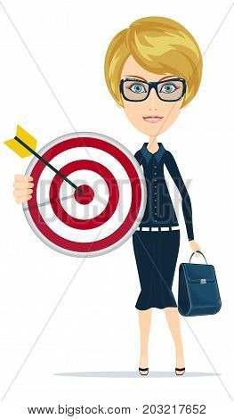 Marketing Target. Business woman smiling and holding big Marketing target of darts. Success concept portrait.
