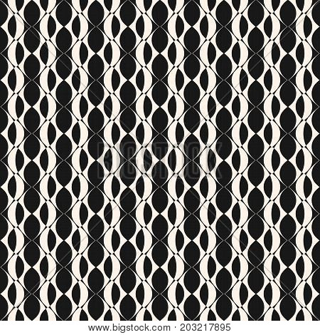 Vector geometric seamless pattern with grid, lattice, curved shapes, ovals. Abstract black & white mesh texture. Repeat monochrome background. Design for decoration, fabric, prints, textile, furniture. Mesh pattern, lattice pattern.