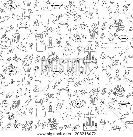 Halloween cute scary doodle icons seamless vector pattern