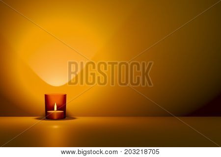 3d illustration of a candle in a red glass with space for your content