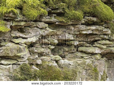 natural outdoor photography of a mossy layered rock formation