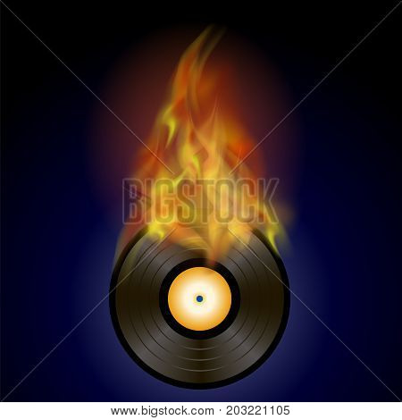 Burning Vinyl Disc with Fire Flame Isolated on Blue Background