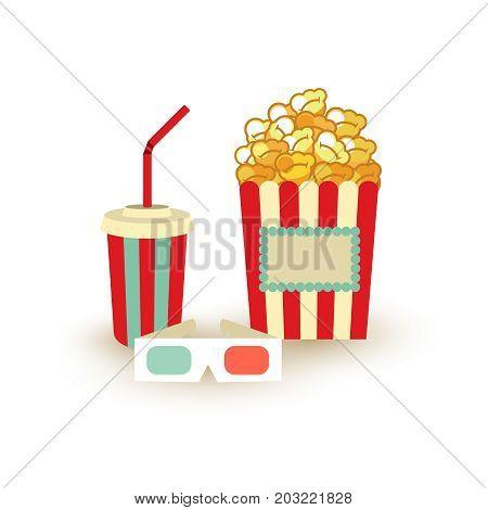 Movie Poster Template. Popcorn, Soda Takeaway, 3D Cinema Stereo Glasses. Cinema Design Elements.