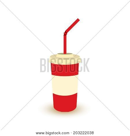 Plastic Cup Of Soda With Straw.