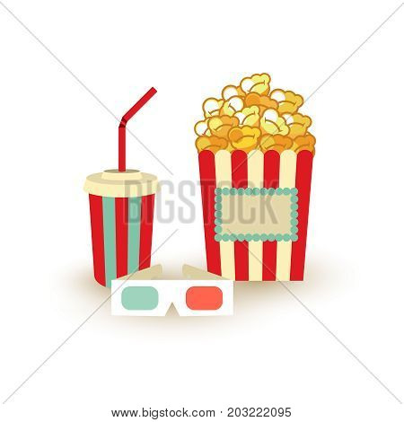 Movie Poster Template. Popcorn, Soda Takeaway, 3D Cinema Stereo Glasses. Cinema Design Elements.