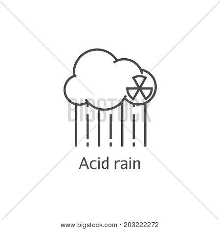 Radioactive Cloud And Acid Rain Thin Line Icon. Dangerous Anti-ecological Poisonous Sediments Concep