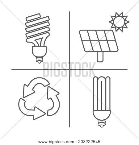 Eco Icons Set. Thin Line Ecological Signs For Infographic, Website Or App. Powersave Lamp, Eco Solar