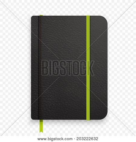 Realistic Black Notebook With Green Elastic Band. Top View Diary Template. Closed Diary. Vector Note