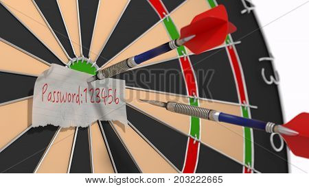 Weak password 123456 on a piece of paper pinned to a dart board with a second arrow hitting it cybersecurity concept 3D illustration