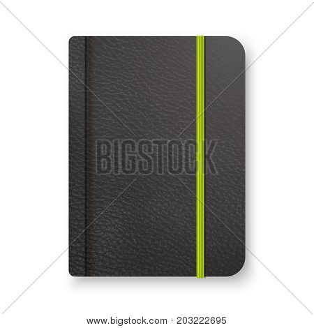 Realistic Black Notebook With Green Elastic Band. Top View Diary Template. Closed Diary. Notepad Moc