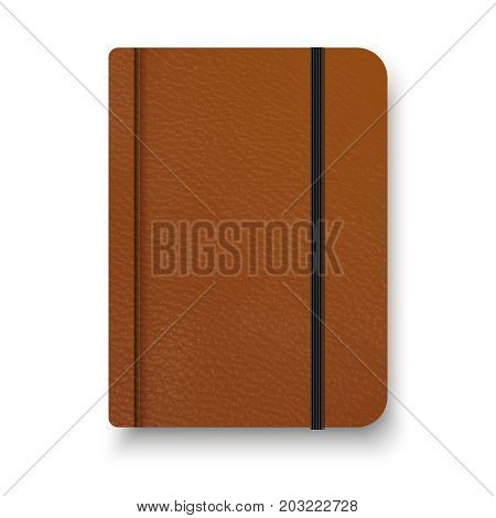 Realistic Brown Notebook With Black Elastic Band. Top View Diary Template. Notepad Mockup. Closed Di