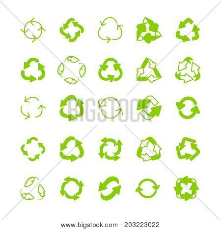 Recycling Ecology Thin Line Vector Icon Set.
