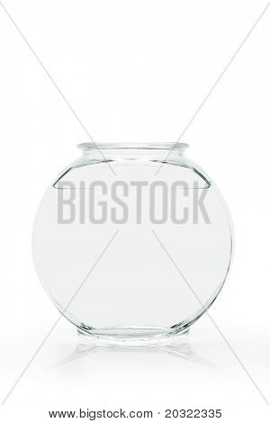 Empty fish bowl filled with water only against white background.