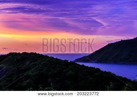 Dramatic Sunset in Phuket Thailand Promthep Cape