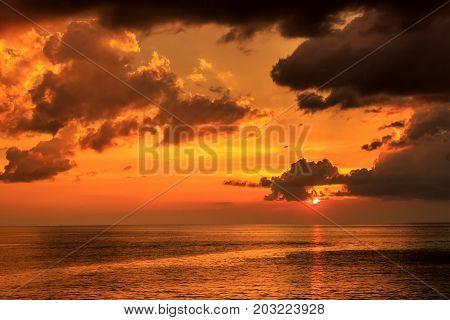 The Beautiful Dramatic Sunset in Phuket Thailand