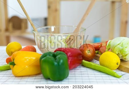 cook make mix vegetables salad on kitchen for diet select focus. Healthy Concept
