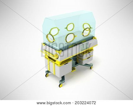 Incubator For Premature Babies Yellow 3D Render On Gray Background
