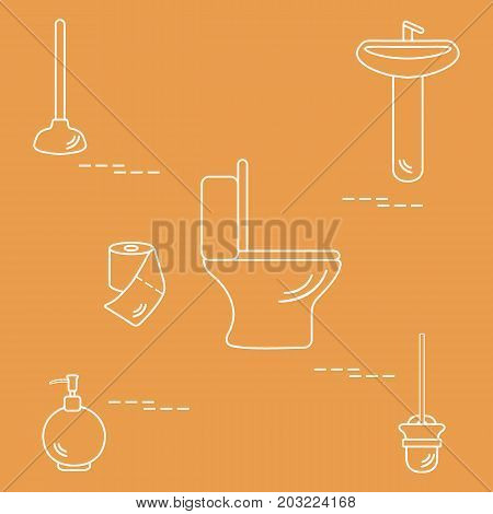 Vector Illustration With Toilet Bowl, Washbasin, Toilet Paper, Soap Dispenser, Plunger, Brush For To