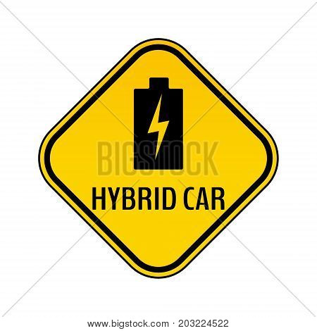 Hybrid car caution sticker. Save energy automobile warning sign. Charging battery icon in yellow and black rhombus to a vehicle glass. Vector illustration.