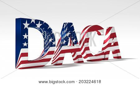 Huge abbreviation daca textured with the flag of the united states 3D illustration