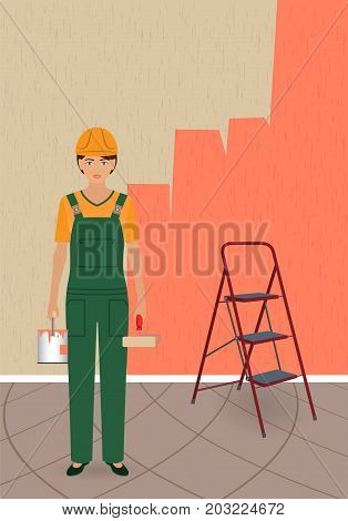 Woman painter character with roller and paint can in construction uniform and helmet on a partially painted wall background. Vector illustration.