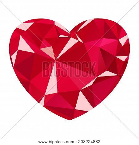 Ruby heart flat vector design, red diamond heart isolated on a white background. Jewelry and jewelry, style and fashion. A symbol of love, wealth and luxury.