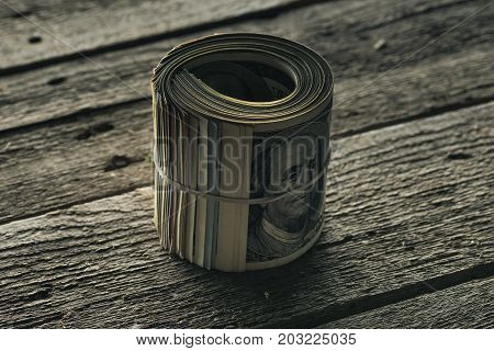 Dollar Banknotes In Roll