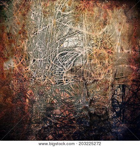 Background with grunge elements on vintage style old texture. With different color pattern