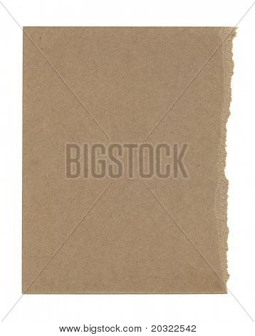 Thick torn brown paper isolated on a white background.