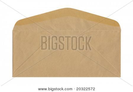 Back of unsealed brown envelope isolated on a white background.