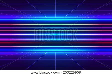 80S Futuristic Style Abstract Backgound. Sci-fi Neon Perspective Grid With Motion Blur Effect. Retro