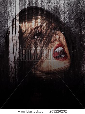 3d illustration of woman portrait screaming in grunge background
