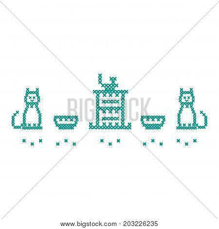 Cute Vector Illustration Cross Embroidery Of Teapot With Two Cups And Two Cats.