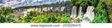 Panoramic view of Iguazu falls in Argentina
