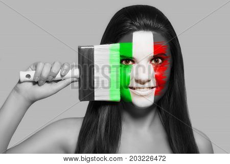 Female supporter in national colors of Italy