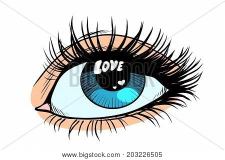 Love catchlight in the eye. Female eyes with blue pupil. Pop art retro vector illustration