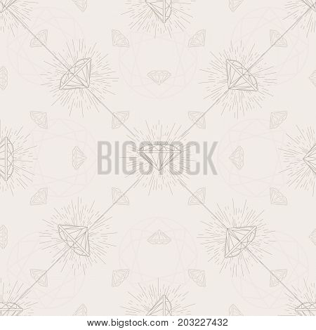 Diamond seamless vector pattern for your paper web or textile design on a neutral colors